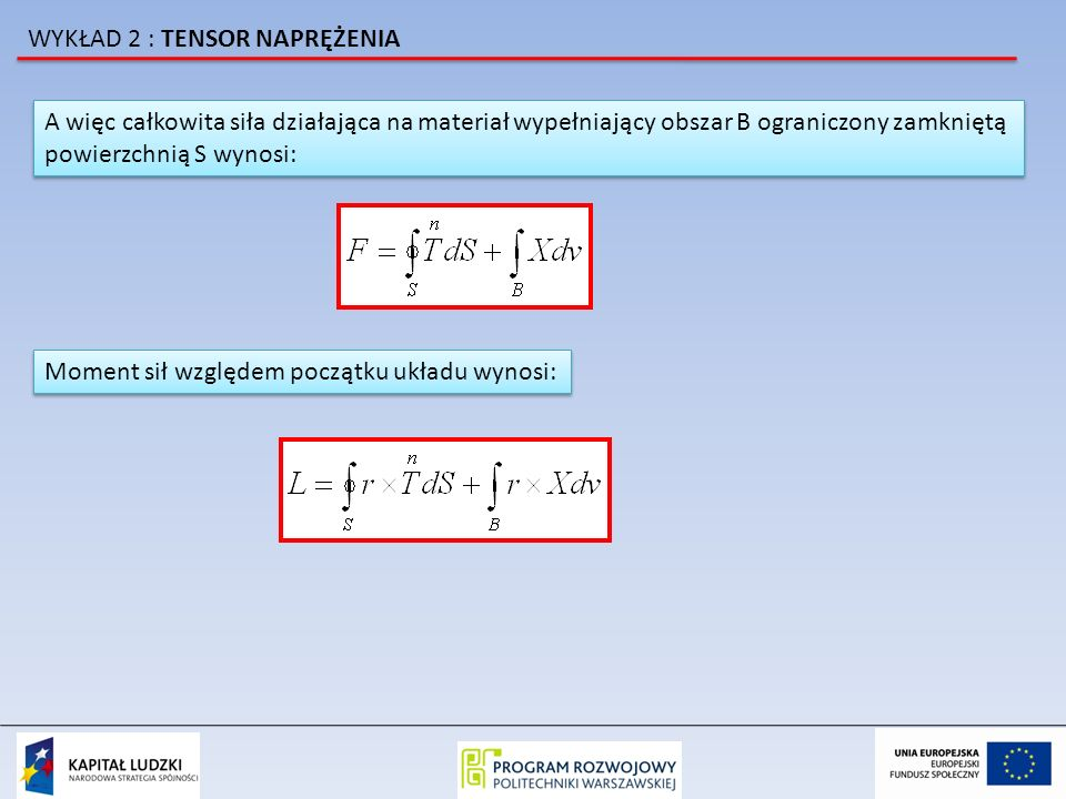 A więc całkowita siła działająca na materiał wypełniający obszar B ograniczony zamkniętą powierzchnią S wynosi: A więc całkowita siła działająca na ma