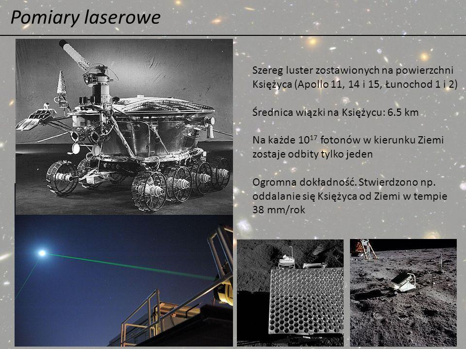 Pomiary laserowe Szereg luster zostawionych na powierzchni Księżyca (Apollo 11, 14 i 15, Łunochod 1 i 2) Średnica wiązki na Księżycu: 6.5 km Na każde