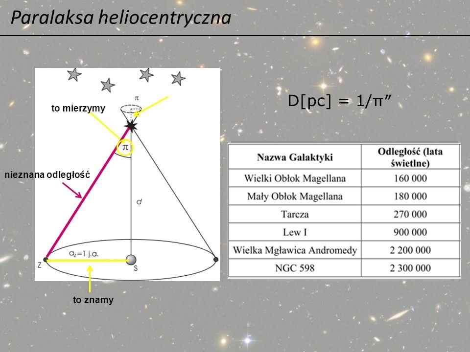 Paralaksa heliocentryczna D[pc] = 1/ π to mierzymy to znamy nieznana odległość