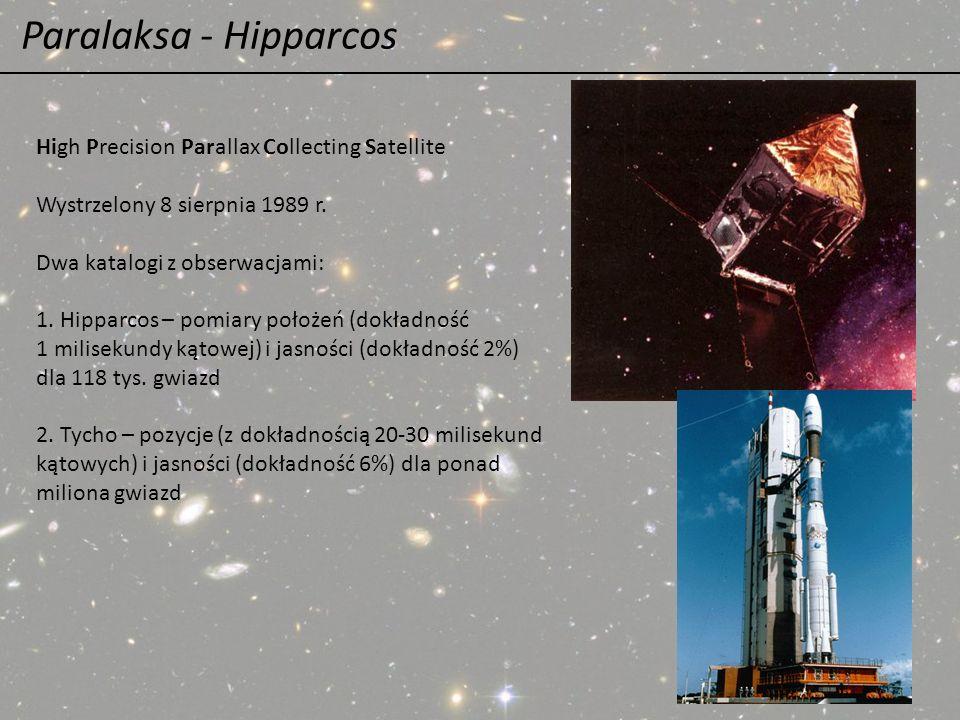 Paralaksa - Hipparcos High Precision Parallax Collecting Satellite Wystrzelony 8 sierpnia 1989 r. Dwa katalogi z obserwacjami: 1. Hipparcos – pomiary