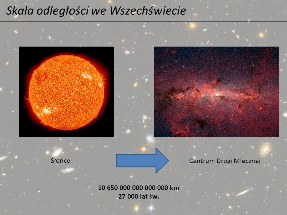 Skala odległości we Wszechświecie Słońce Centrum Drogi Mlecznej 10 650 000 000 000 000 km 27 000 lat św.