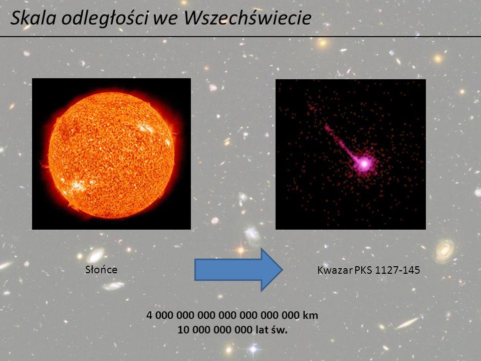 Skala odległości we Wszechświecie Słońce Kwazar PKS 1127-145 4 000 000 000 000 000 000 000 km 10 000 000 000 lat św.