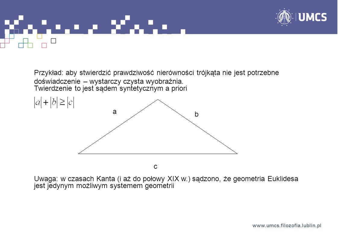 Przykład: aby stwierdzić prawdziwość nierówności trójkąta nie jest potrzebne doświadczenie – wystarczy czysta wyobraźnia. Twierdzenie to jest sądem sy