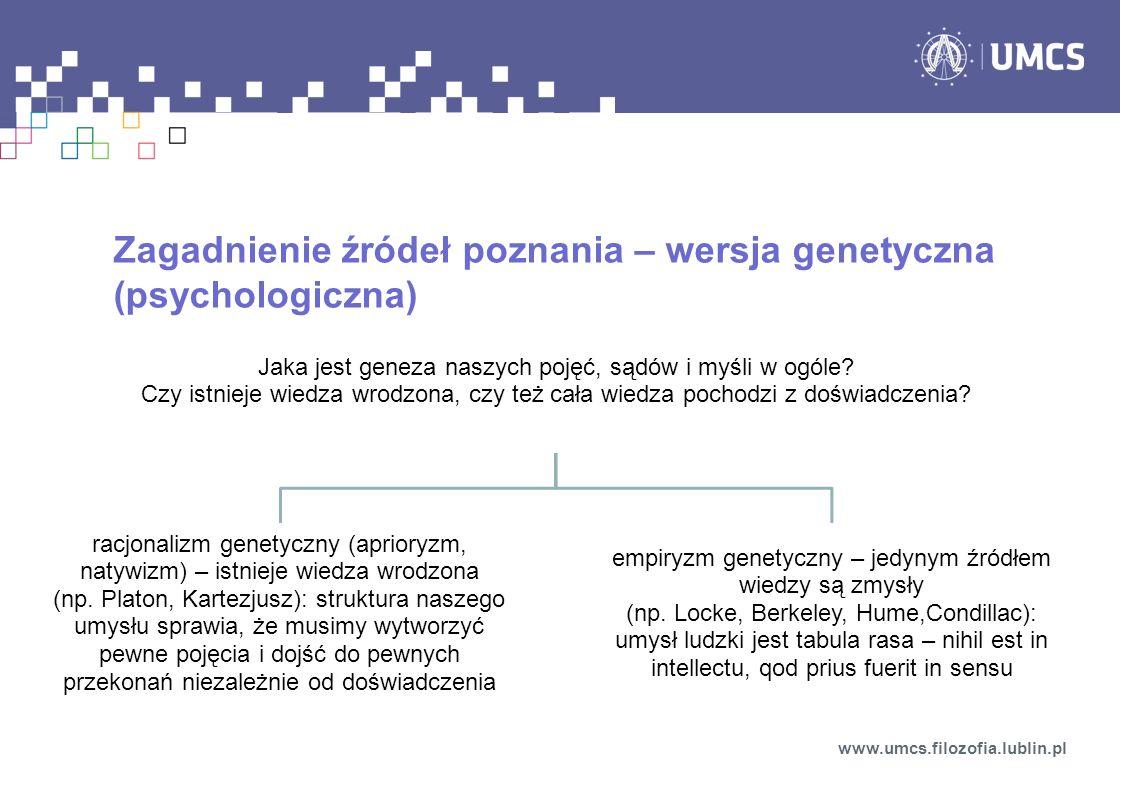 Zagadnienie źródeł poznania – wersja genetyczna (psychologiczna) www.umcs.filozofia.lublin.pl Jaka jest geneza naszych pojęć, sądów i myśli w ogóle? C