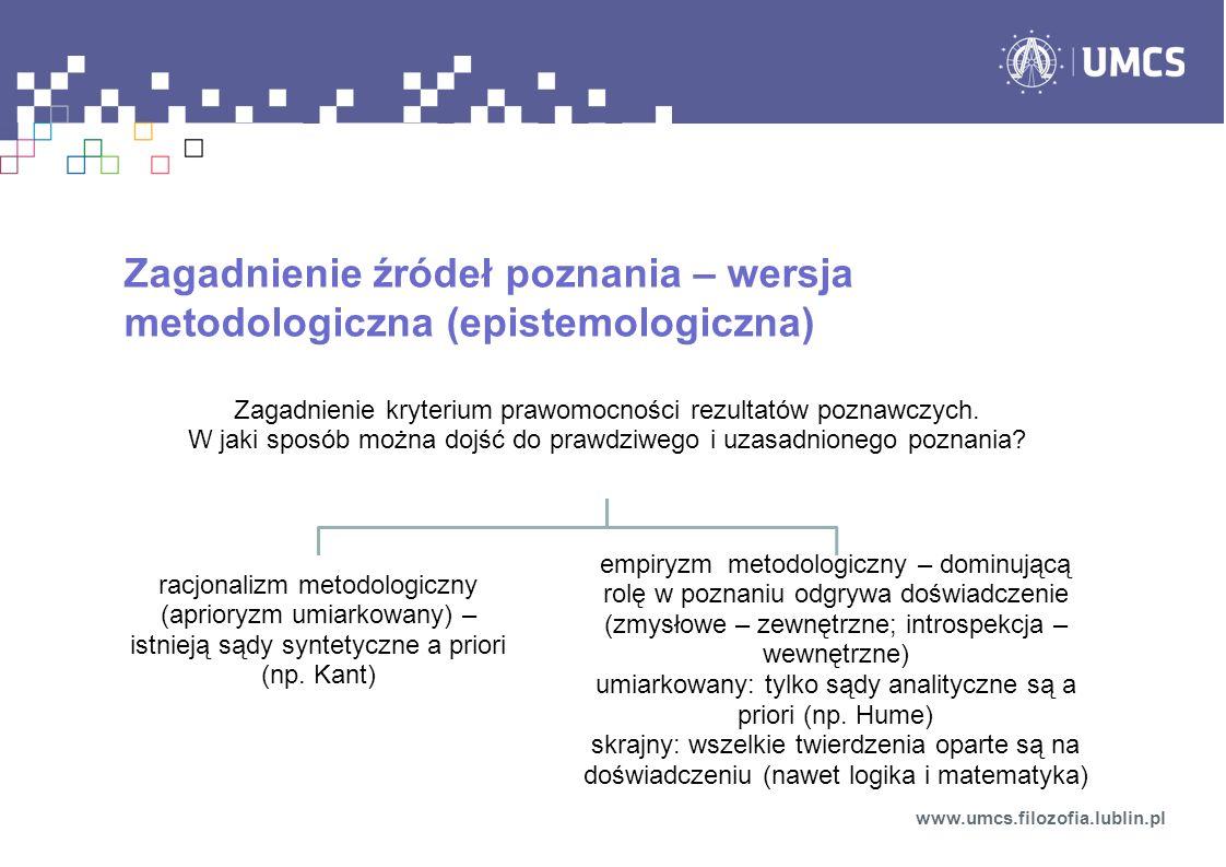 Zagadnienie źródeł poznania – wersja metodologiczna (epistemologiczna) www.umcs.filozofia.lublin.pl Zagadnienie kryterium prawomocności rezultatów poz