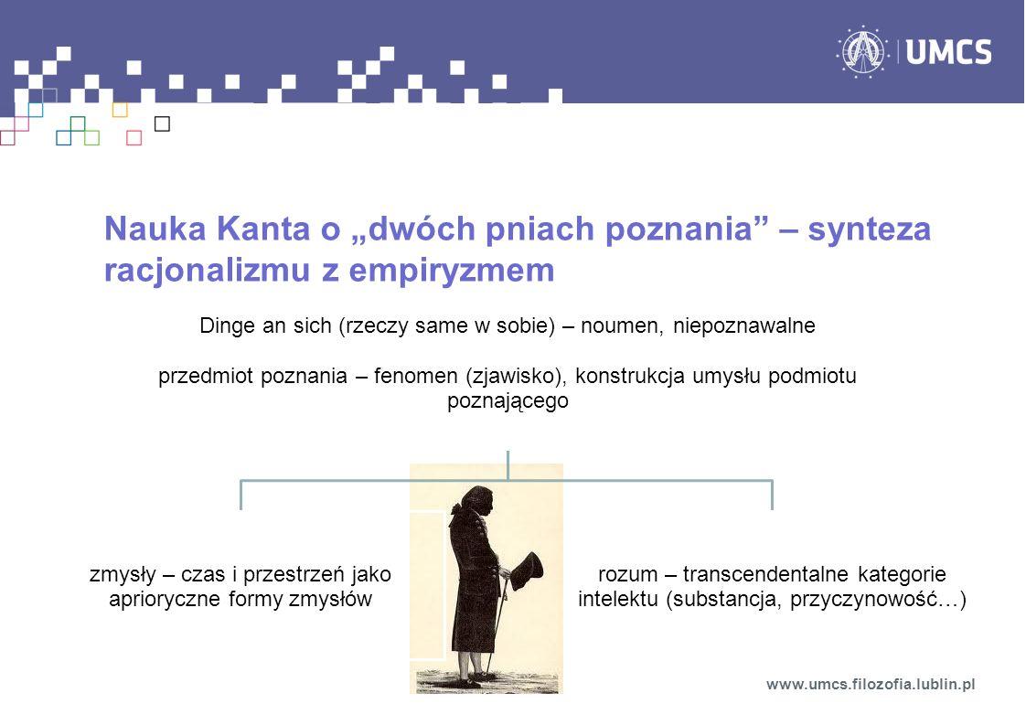 Nauka Kanta o dwóch pniach poznania – synteza racjonalizmu z empiryzmem www.umcs.filozofia.lublin.pl Dinge an sich (rzeczy same w sobie) – noumen, nie