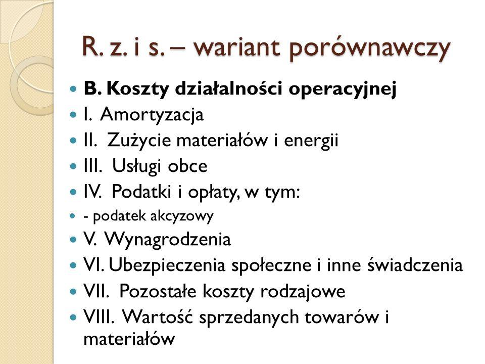 R. z. i s. – wariant porównawczy B. Koszty działalności operacyjnej I. Amortyzacja II. Zużycie materiałów i energii III. Usługi obce IV. Podatki i opł