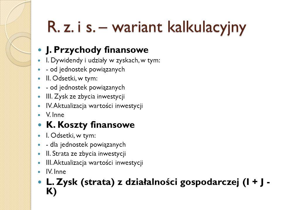 R. z. i s. – wariant kalkulacyjny J. Przychody finansowe I. Dywidendy i udziały w zyskach, w tym: - od jednostek powiązanych II. Odsetki, w tym: - od