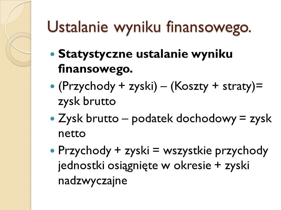 Ustalanie wyniku finansowego. Statystyczne ustalanie wyniku finansowego. (Przychody + zyski) – (Koszty + straty)= zysk brutto Zysk brutto – podatek do