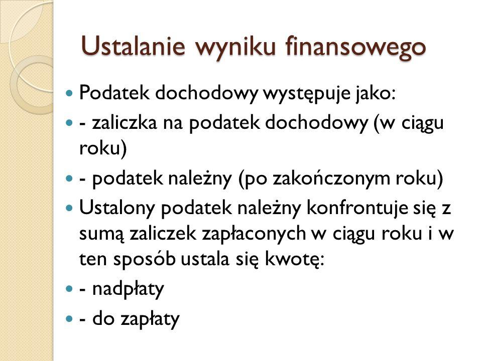 Ustalanie wyniku finansowego.Sprawozdawcze ustalanie wyniku finansowego.