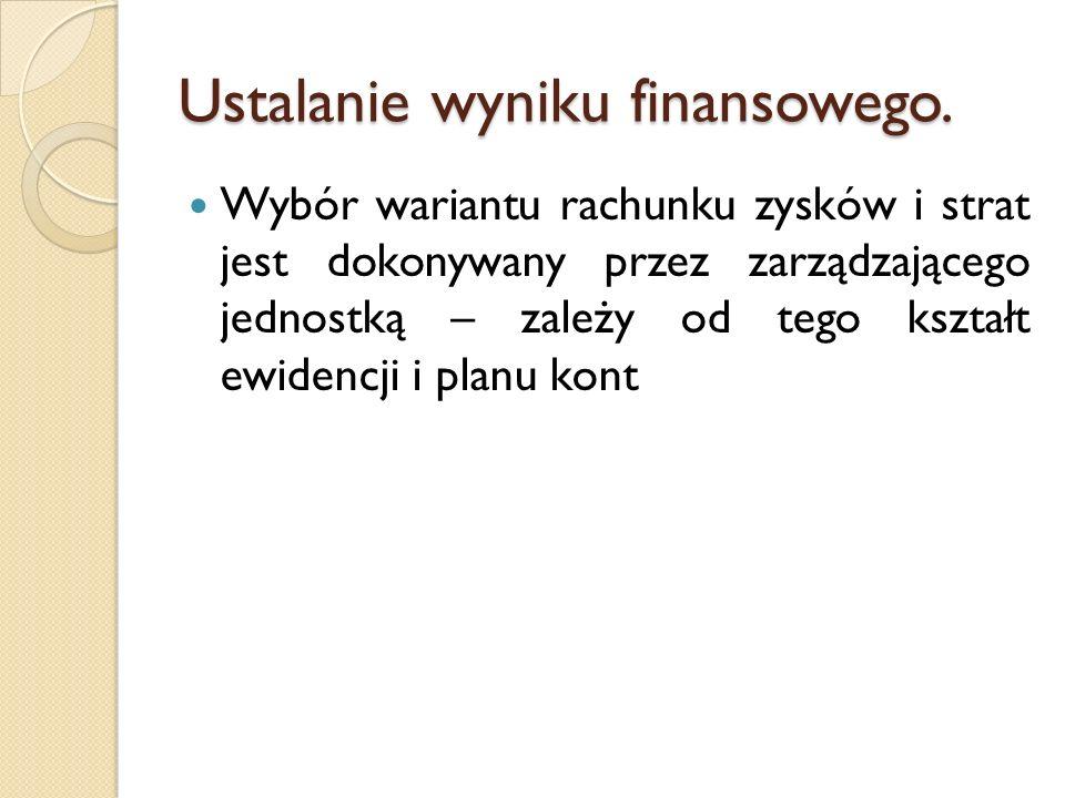 Struktura rachunku zysków i strat Wynik ze sprzedaży Przychody ze sprzedaży towarów, wyrobów, usług i materiałów - Koszty działalności podstawowej Wynik z działalności operacyjnej Wynik ze sprzedaży + Pozostałe przychody operacyjne - Pozostałe koszty operacyjne Wynik z działalności gospodarczej Wynik z działalności operacyjnej + Przychody finansowe - Koszty finansowe