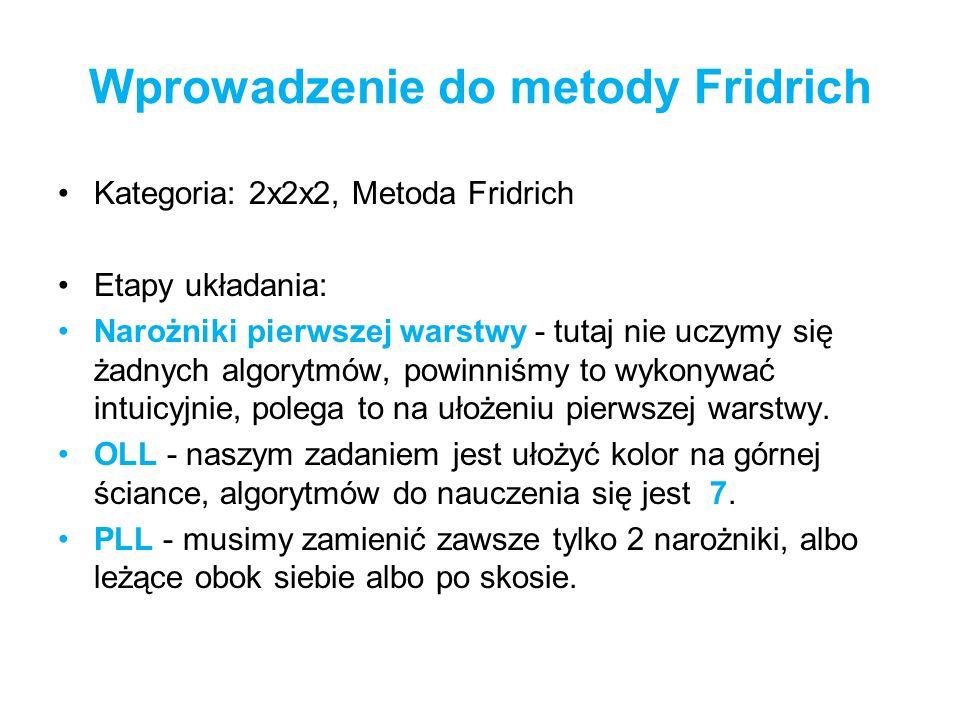 Wprowadzenie do metody Fridrich Kategoria: 2x2x2, Metoda Fridrich Etapy układania: Narożniki pierwszej warstwy - tutaj nie uczymy się żadnych algorytm