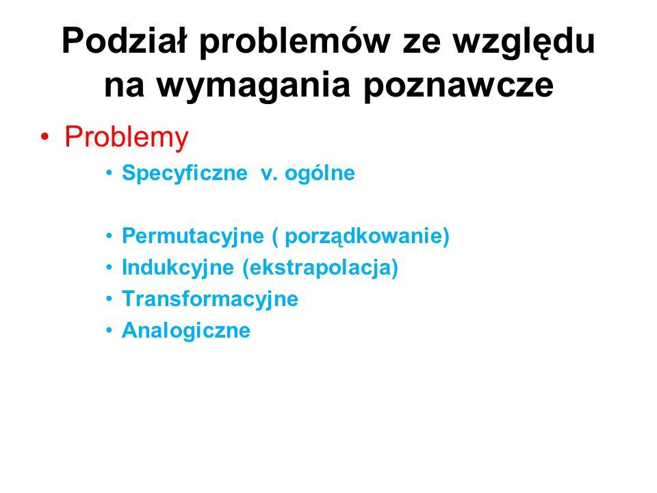 Podział problemów ze względu na wymagania poznawcze Problemy Specyficzne v. ogólne Permutacyjne ( porządkowanie) Indukcyjne (ekstrapolacja) Transforma
