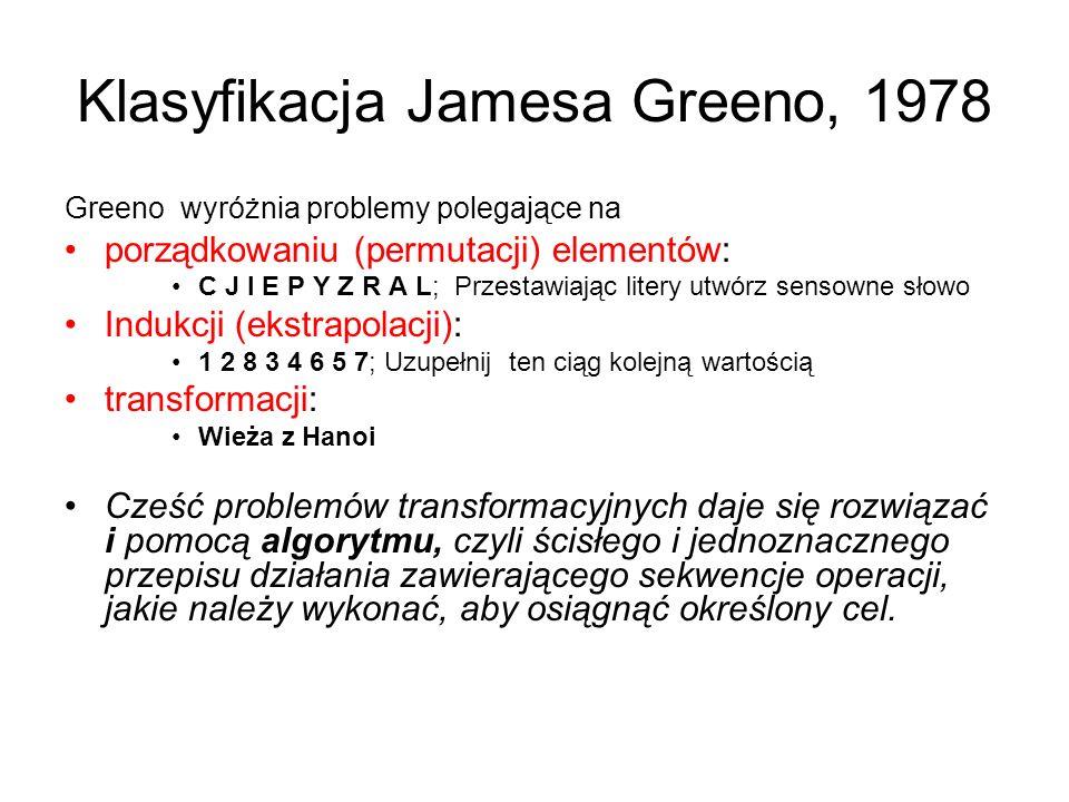 Klasyfikacja Jamesa Greeno, 1978 Greeno wyróżnia problemy polegające na porządkowaniu (permutacji) elementów: C J I E P Y Z R A L; Przestawiając liter