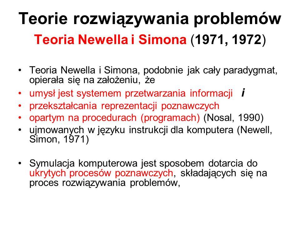 Teorie rozwiązywania problemów Teoria Newella i Simona (1971, 1972) Teoria Newella i Simona, podobnie jak cały paradygmat, opierała się na założeniu,