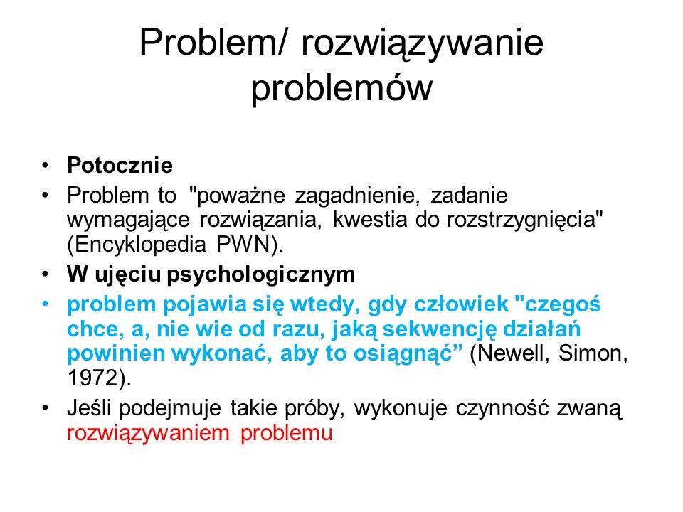 Klasyfikacja Jamesa Greeno, 1978 Greeno wyróżnia problemy polegające na porządkowaniu (permutacji) elementów: C J I E P Y Z R A L; Przestawiając litery utwórz sensowne słowo Indukcji (ekstrapolacji): 1 2 8 3 4 6 5 7; Uzupełnij ten ciąg kolejną wartością transformacji: Wieża z Hanoi Cześć problemów transformacyjnych daje się rozwiązać i pomocą algorytmu, czyli ścisłego i jednoznacznego przepisu działania zawierającego sekwencje operacji, jakie należy wykonać, aby osiągnąć określony cel.