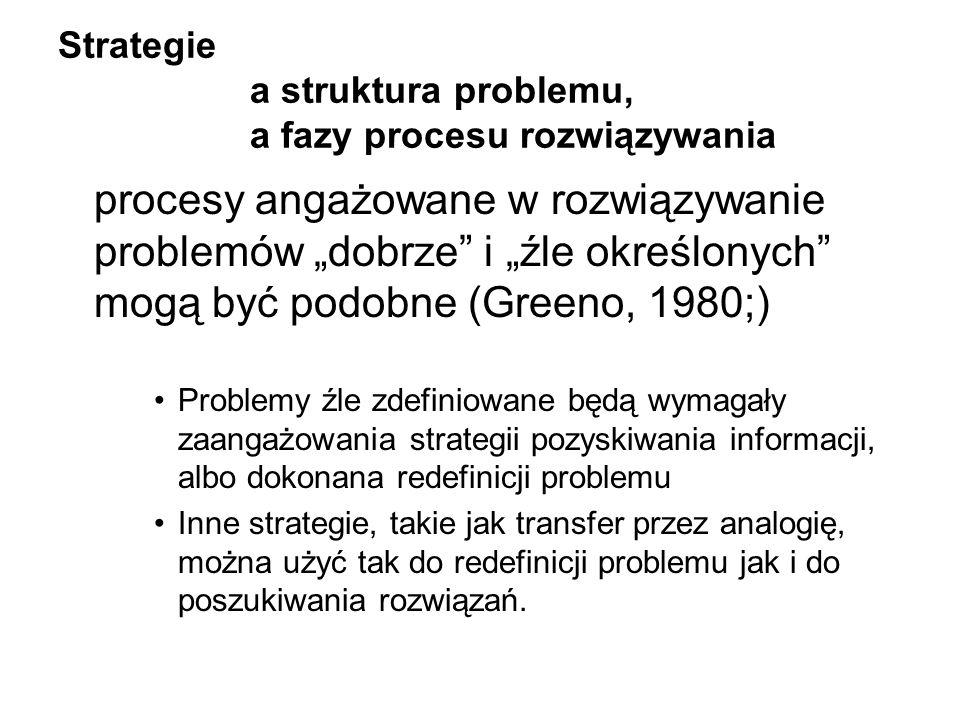 Strategie a struktura problemu, a fazy procesu rozwiązywania procesy angażowane w rozwiązywanie problemów dobrze i źle określonych mogą być podobne (G