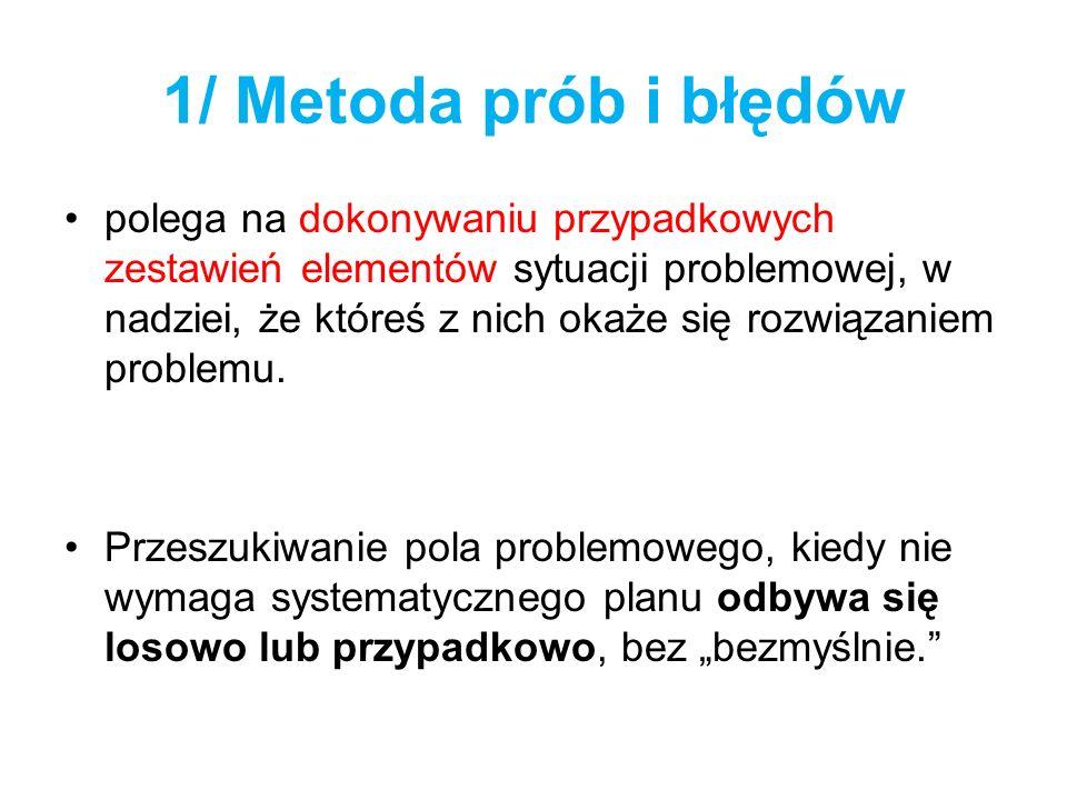1/ Metoda prób i błędów polega na dokonywaniu przypadkowych zestawień elementów sytuacji problemowej, w nadziei, że któreś z nich okaże się rozwiązani