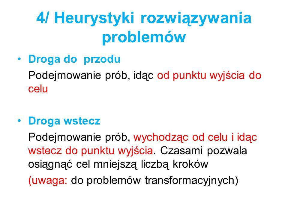 4/ Heurystyki rozwiązywania problemów Droga do przodu Podejmowanie prób, idąc od punktu wyjścia do celu Droga wstecz Podejmowanie prób, wychodząc od c