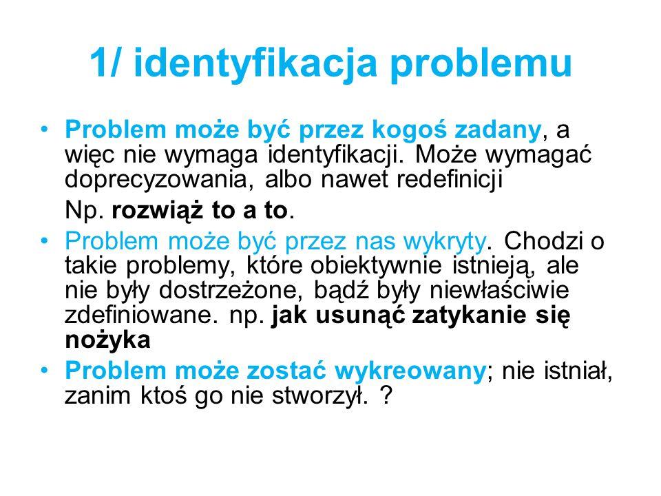 1/ identyfikacja problemu Problem może być przez kogoś zadany, a więc nie wymaga identyfikacji. Może wymagać doprecyzowania, albo nawet redefinicji Np