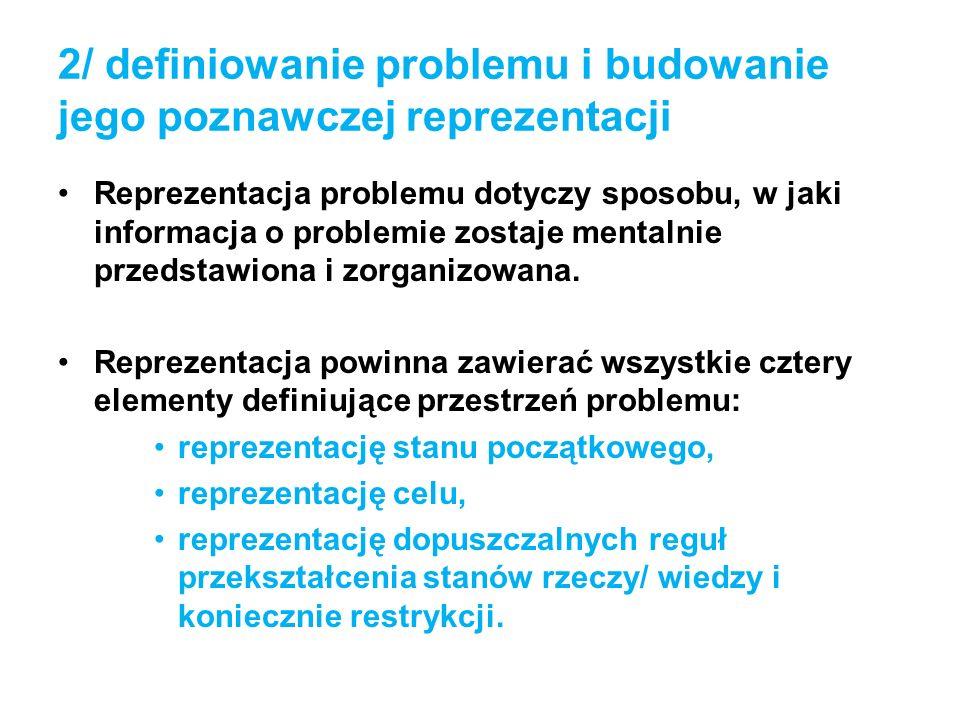 2/ definiowanie problemu i budowanie jego poznawczej reprezentacji Reprezentacja problemu dotyczy sposobu, w jaki informacja o problemie zostaje menta