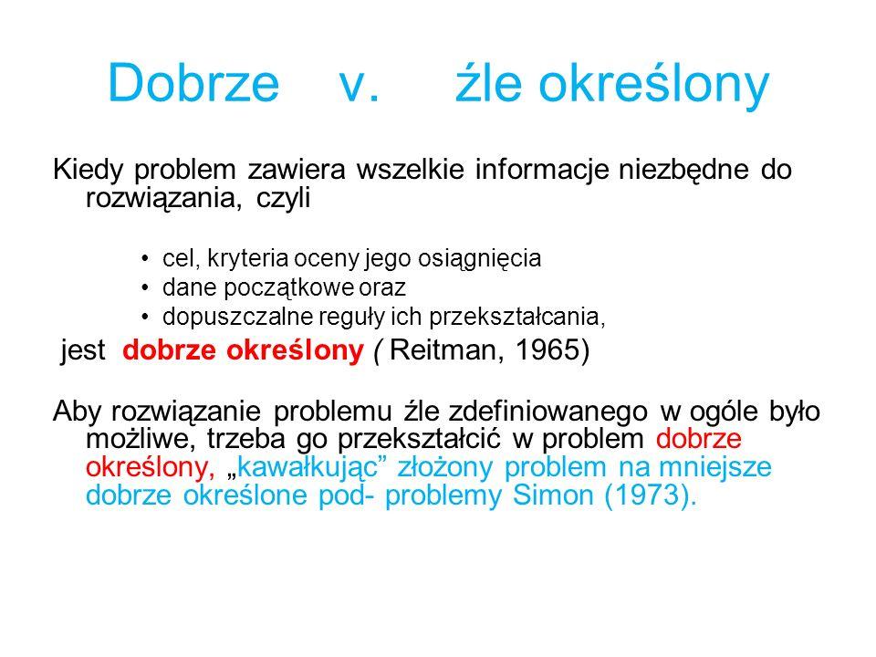 Dobrze v. źle określony Kiedy problem zawiera wszelkie informacje niezbędne do rozwiązania, czyli cel, kryteria oceny jego osiągnięcia dane początkowe
