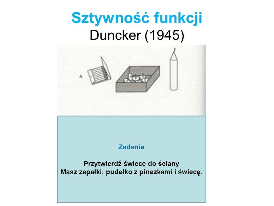 Sztywność funkcji Duncker (1945) Zadanie Przytwierdź świecę do ściany Masz zapałki, pudełko z pinezkami i świecę.