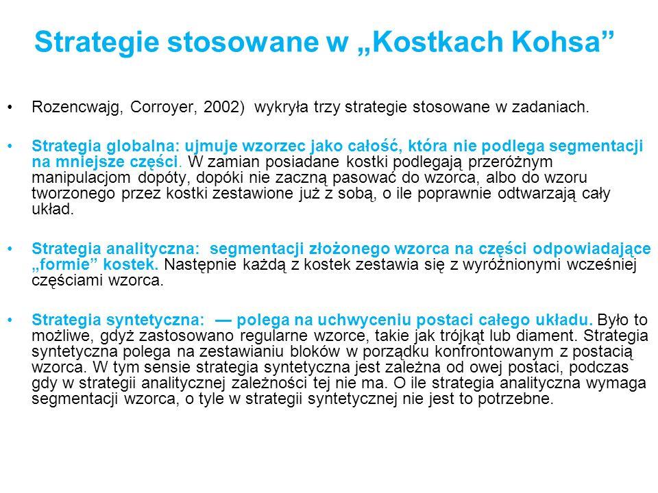 Strategie stosowane w Kostkach Kohsa Rozencwajg, Corroyer, 2002) wykryła trzy strategie stosowane w zadaniach. Strategia globalna: ujmuje wzorzec jako