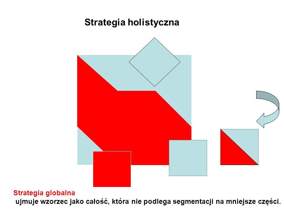 Strategia holistyczna Strategia globalna ujmuje wzorzec jako całość, która nie podlega segmentacji na mniejsze części.
