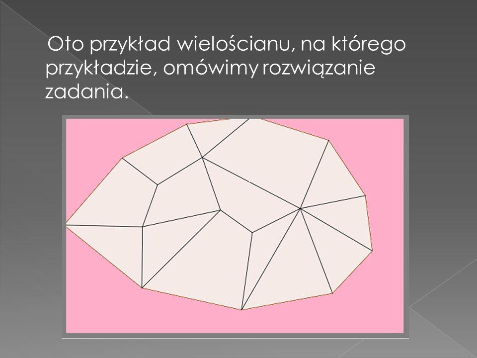 Suma składa się z trzech składników: - z sumy kątów dolnej płytki (rozciągniętej podstawy) równej - z identycznej sumy kątów brzegu płytki górnej, - z sumy kątów wnętrza płytki górnej, które zawiera W- b wierzchołków.