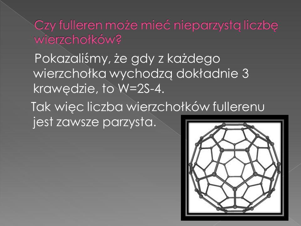 Wprowadźmy oznaczenia: S 5 - liczba pięciokątnych ścian fullerenu, S 6 - liczba sześciokątnych ścian fullerenu.