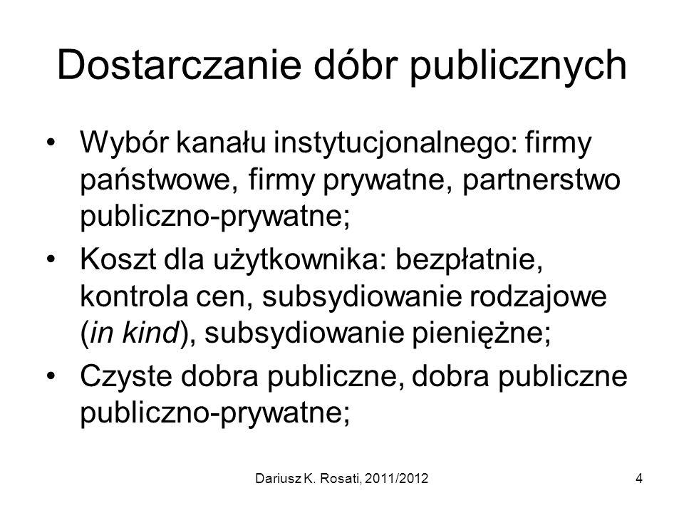 Dostarczanie dóbr publicznych Wybór kanału instytucjonalnego: firmy państwowe, firmy prywatne, partnerstwo publiczno-prywatne; Koszt dla użytkownika: