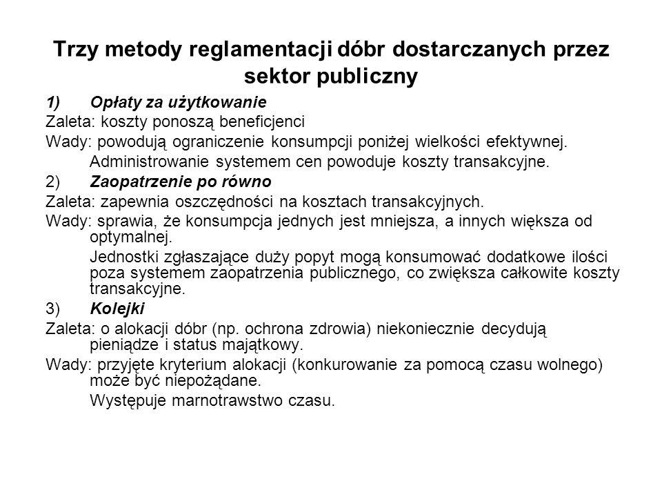 Trzy metody reglamentacji dóbr dostarczanych przez sektor publiczny 1)Opłaty za użytkowanie Zaleta: koszty ponoszą beneficjenci Wady: powodują ogranic