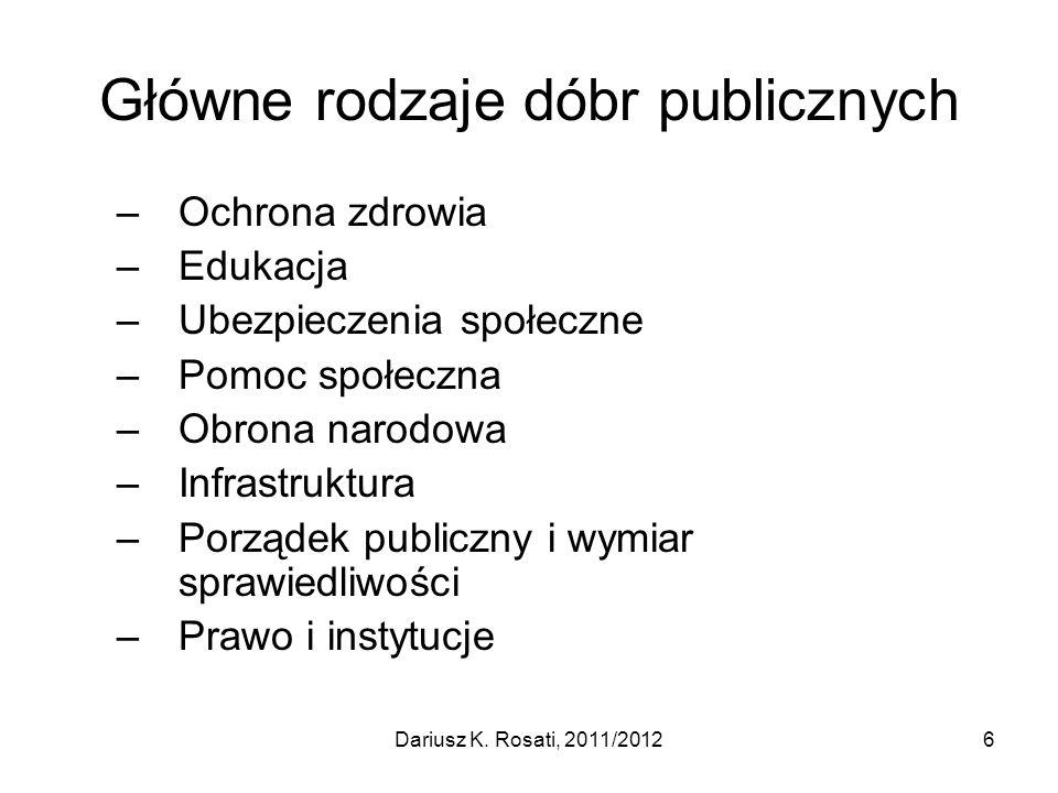 Główne rodzaje dóbr publicznych –Ochrona zdrowia –Edukacja –Ubezpieczenia społeczne –Pomoc społeczna –Obrona narodowa –Infrastruktura –Porządek public