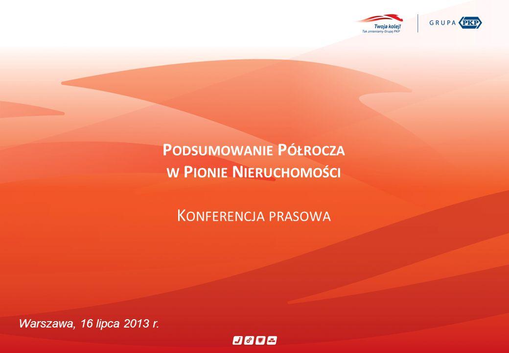 P ODSUMOWANIE P ÓŁROCZA W P IONIE N IERUCHOMOŚCI K ONFERENCJA PRASOWA Warszawa, 16 lipca 2013 r.