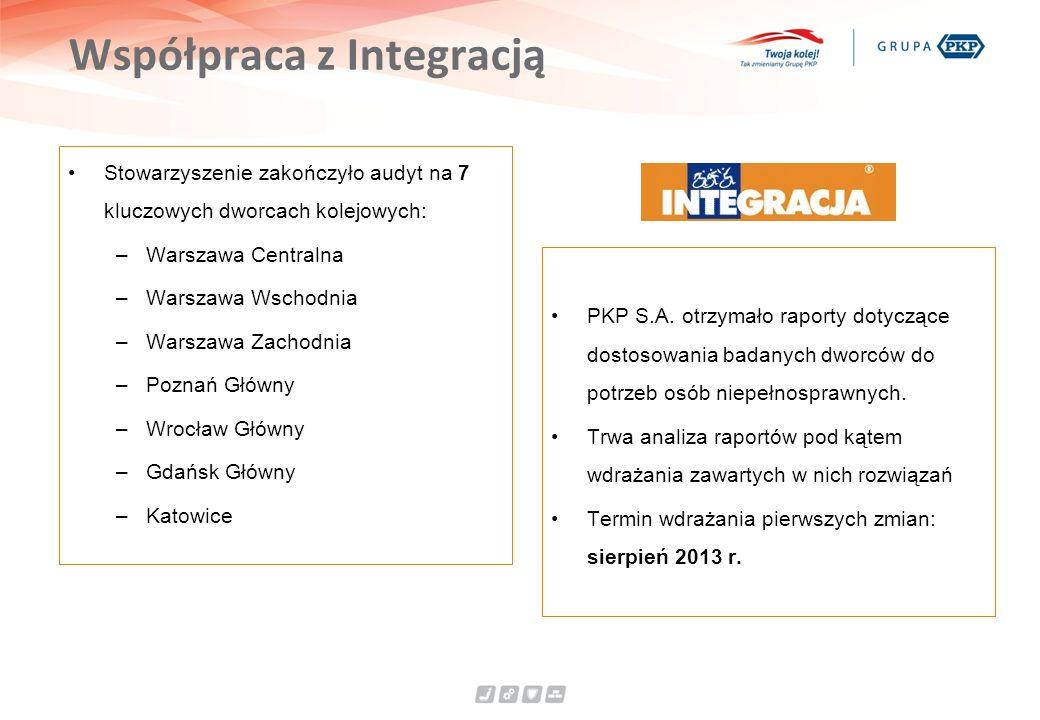 Współpraca z Integracją Stowarzyszenie zakończyło audyt na 7 kluczowych dworcach kolejowych: –Warszawa Centralna –Warszawa Wschodnia –Warszawa Zachodnia –Poznań Główny –Wrocław Główny –Gdańsk Główny –Katowice PKP S.A.