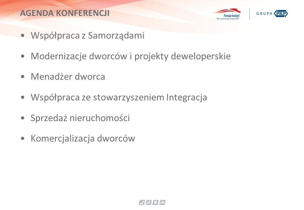 AGENDA KONFERENCJI Współpraca z Samorządami Modernizacje dworców i projekty deweloperskie Menadżer dworca Współpraca ze stowarzyszeniem Integracja Sprzedaż nieruchomości Komercjalizacja dworców