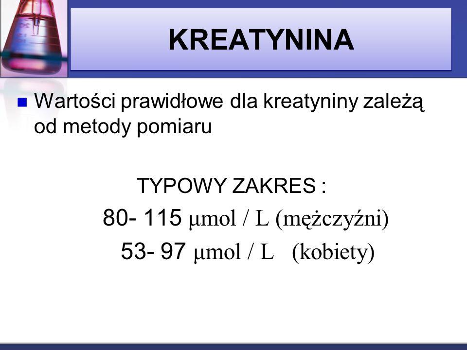 KREATYNINA Wartości prawidłowe dla kreatyniny zależą od metody pomiaru TYPOWY ZAKRES : 80- 115 μmol / L (mężczyźni) 53- 97 μmol / L (kobiety)