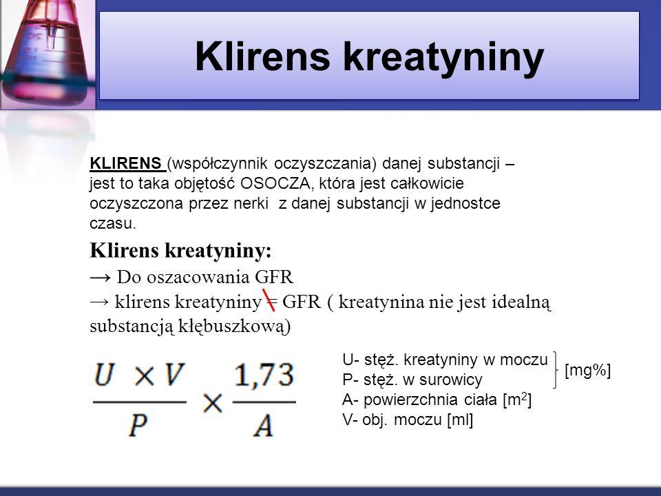 Klirens kreatyniny Klirens kreatyniny: Do oszacowania GFR klirens kreatyniny = GFR ( kreatynina nie jest idealną substancją kłębuszkową) KLIRENS (wspó