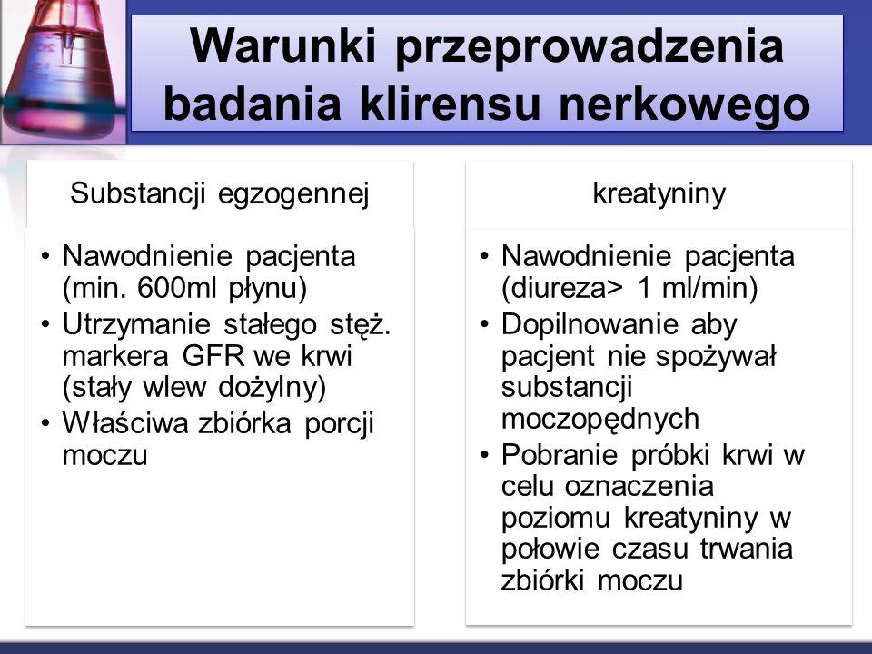 Warunki przeprowadzenia badania klirensu nerkowego Substancji egzogennej Nawodnienie pacjenta (min. 600ml płynu) Utrzymanie stałego stęż. markera GFR