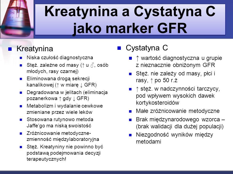 Kreatynina a Cystatyna C jako marker GFR Kreatynina Niska czułość diagnostyczna Stęż. zależne od masy ( u, osób młodych, rasy czarnej) Eliminowana dro