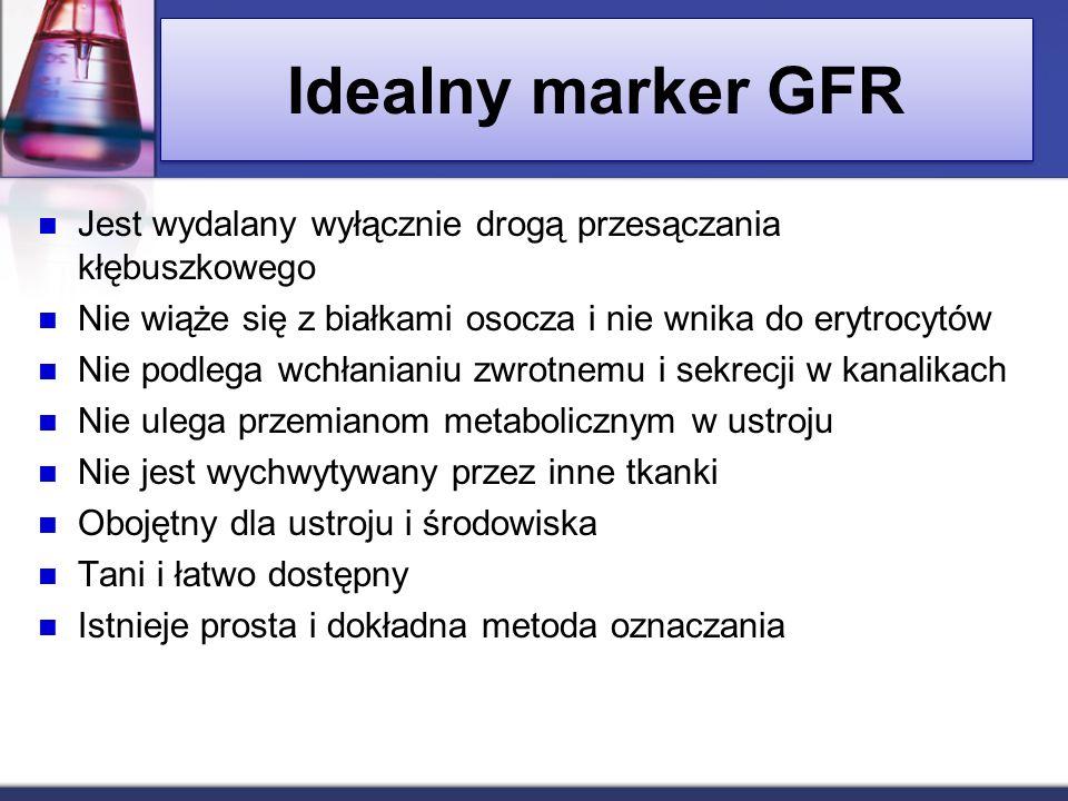 Idealny marker GFR Jest wydalany wyłącznie drogą przesączania kłębuszkowego Nie wiąże się z białkami osocza i nie wnika do erytrocytów Nie podlega wch