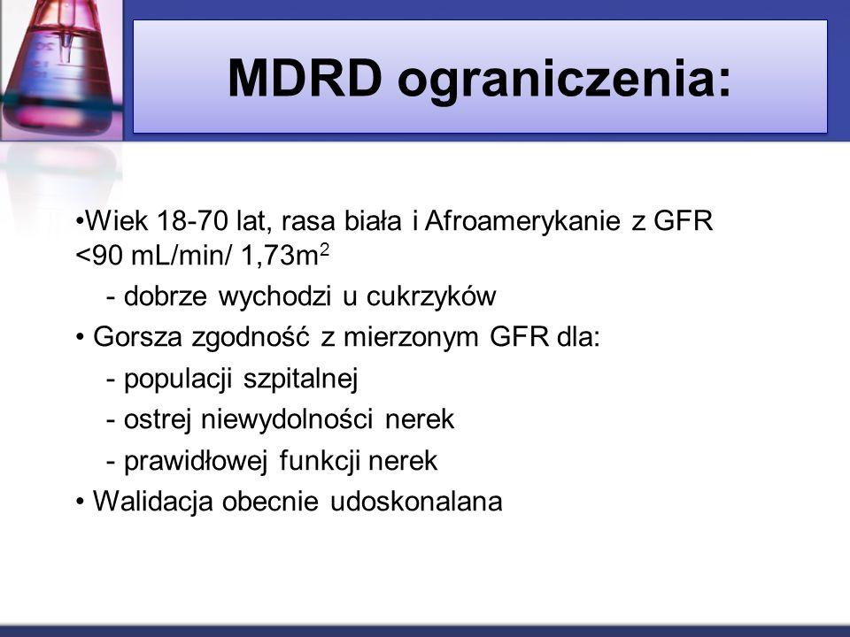 MDRD ograniczenia: Wiek 18-70 lat, rasa biała i Afroamerykanie z GFR <90 mL/min/ 1,73m 2 - dobrze wychodzi u cukrzyków Gorsza zgodność z mierzonym GFR