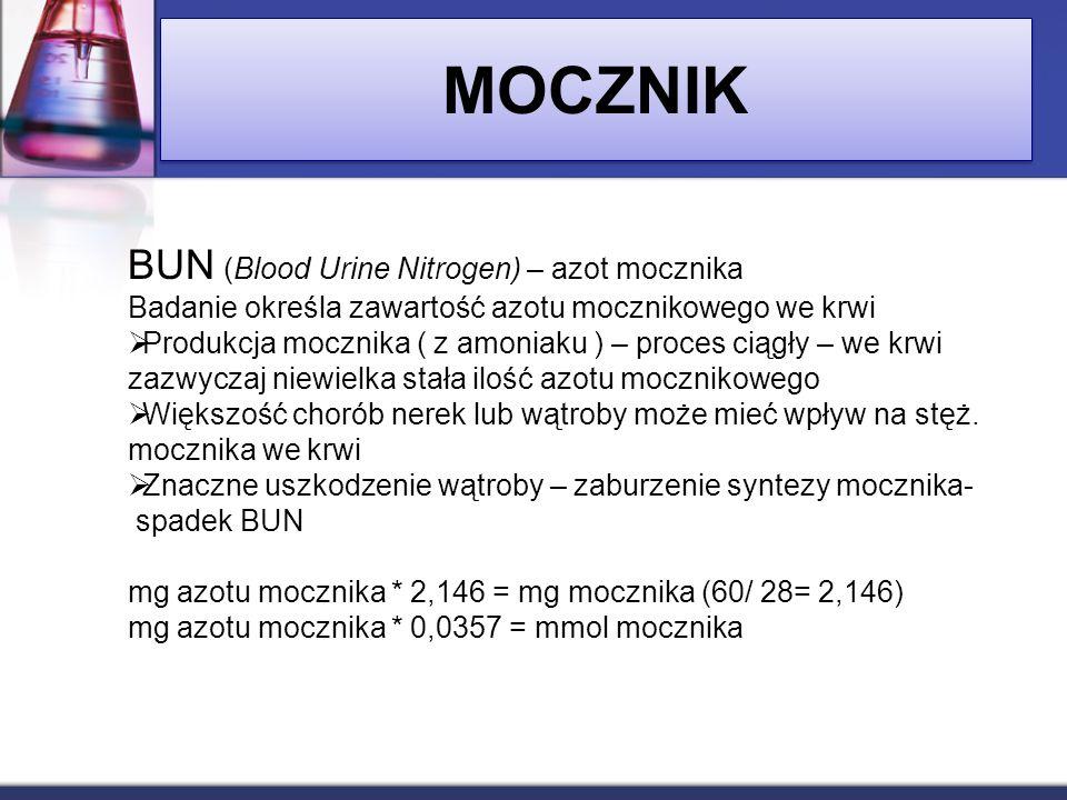 BUN (Blood Urine Nitrogen) – azot mocznika Badanie określa zawartość azotu mocznikowego we krwi Produkcja mocznika ( z amoniaku ) – proces ciągły – we