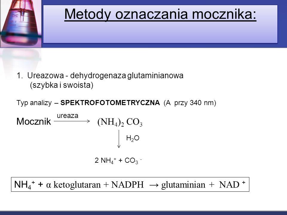 Metody oznaczania mocznika: 1.Ureazowa - dehydrogenaza glutaminianowa (szybka i swoista) Typ analizy – SPEKTROFOTOMETRYCZNA (A przy 340 nm) Mocznik (N