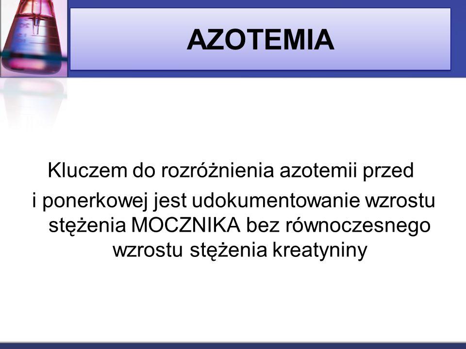 Kluczem do rozróżnienia azotemii przed i ponerkowej jest udokumentowanie wzrostu stężenia MOCZNIKA bez równoczesnego wzrostu stężenia kreatyniny AZOTE
