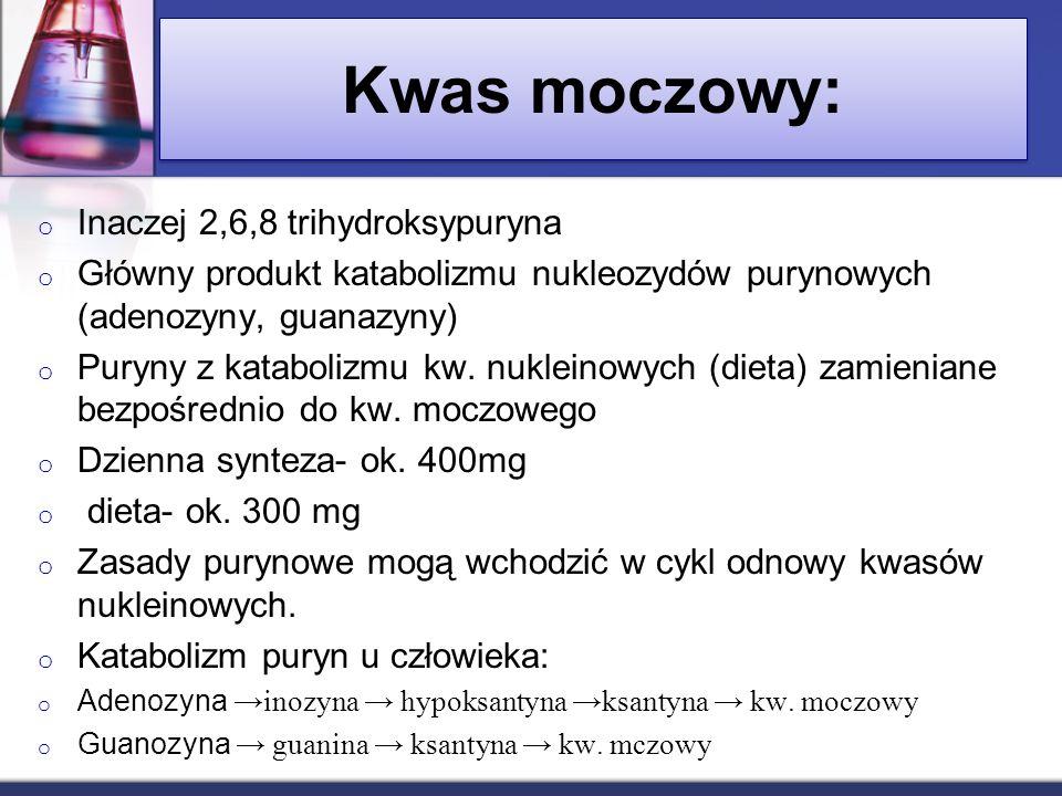 Kwas moczowy: o Inaczej 2,6,8 trihydroksypuryna o Główny produkt katabolizmu nukleozydów purynowych (adenozyny, guanazyny) o Puryny z katabolizmu kw.
