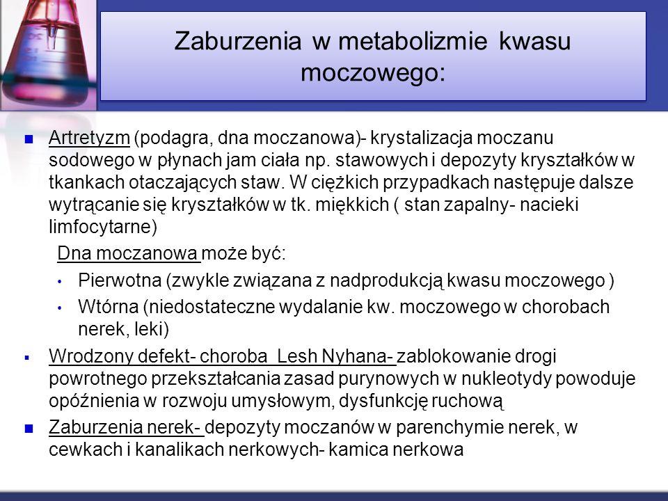 Zaburzenia w metabolizmie kwasu moczowego: Artretyzm (podagra, dna moczanowa)- krystalizacja moczanu sodowego w płynach jam ciała np. stawowych i depo
