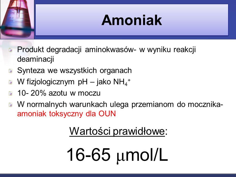 Amoniak Produkt degradacji aminokwasów- w wyniku reakcji deaminacji Synteza we wszystkich organach W fizjologicznym pH – jako NH 4 + 10- 20% azotu w m