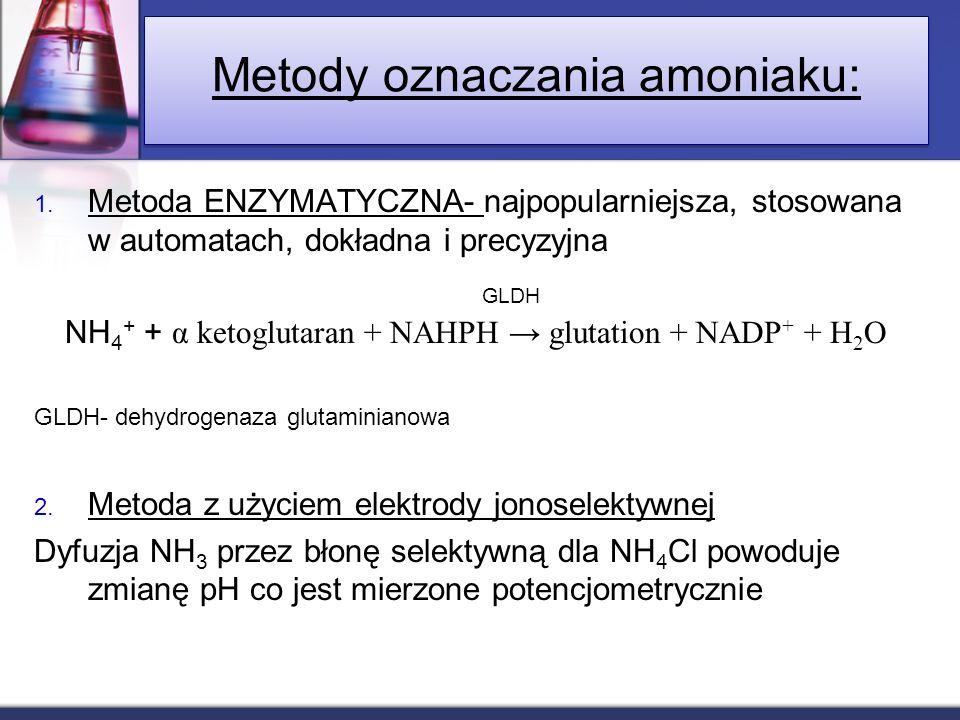 1. Metoda ENZYMATYCZNA- najpopularniejsza, stosowana w automatach, dokładna i precyzyjna NH 4 + + α ketoglutaran + NAHPH glutation + NADP + + H 2 O GL